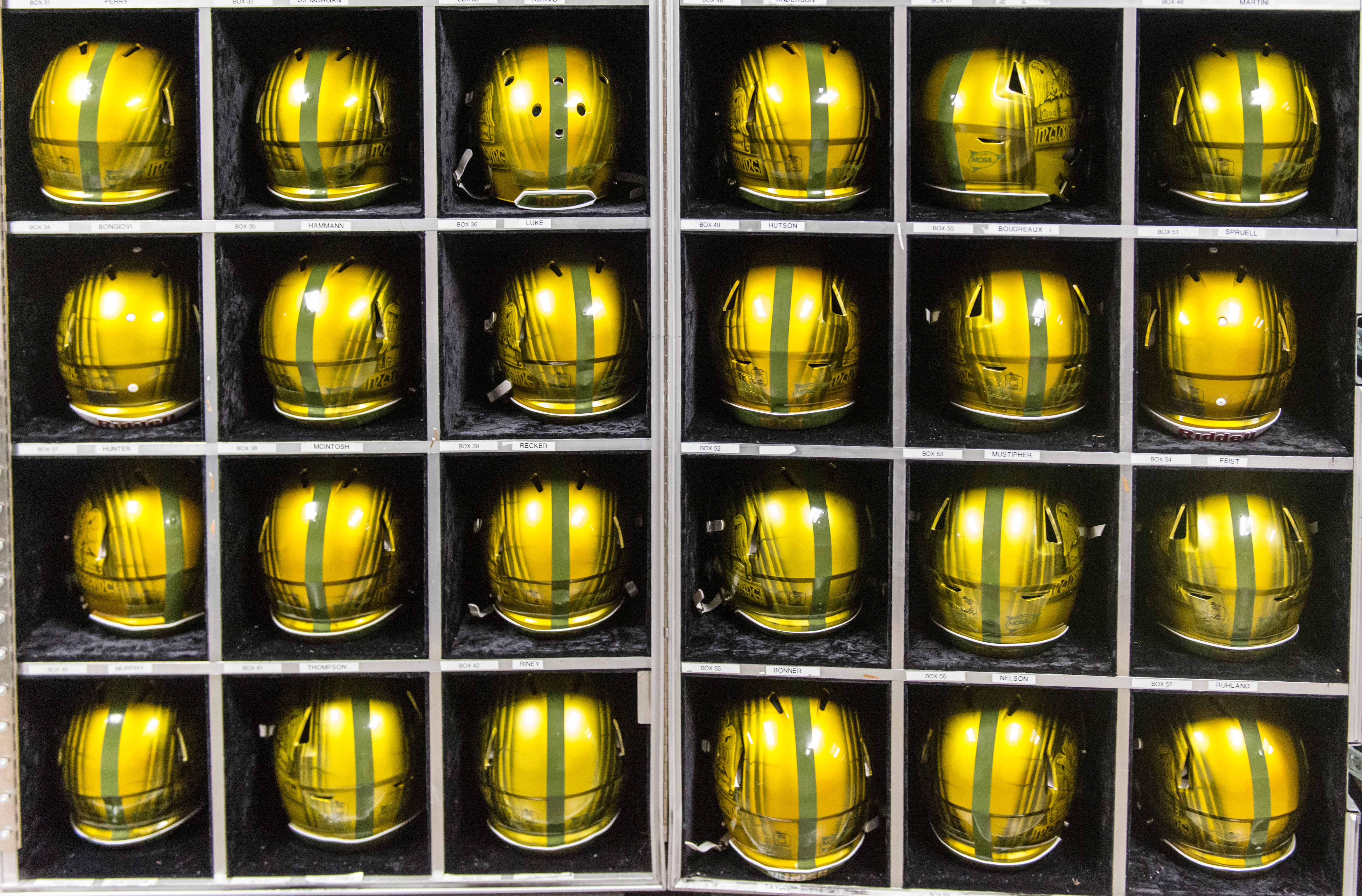 68c3fdba4 Notre Dame s Shamrock series helmets sit on display for Notre Dame s  matchup against Army in San