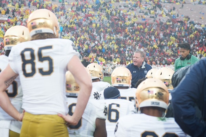 Irish head coach Brian Kelly addresses his players during halftime of Saturday's 45-27 loss to USC.