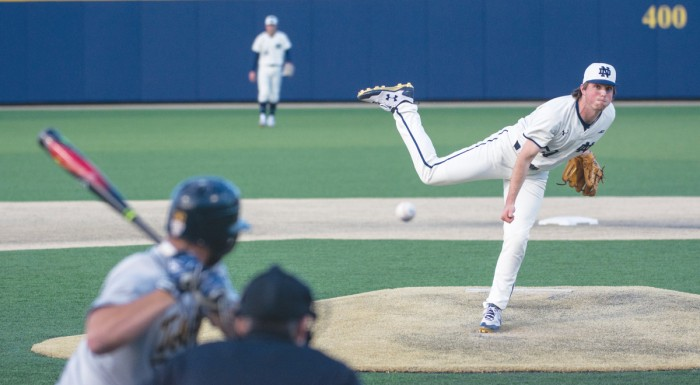 Irish freshman Patrick McDonald throws a pitch during Notre Dame's 8-3 win over Toledo on April 12 at Frank Eck Stadium.