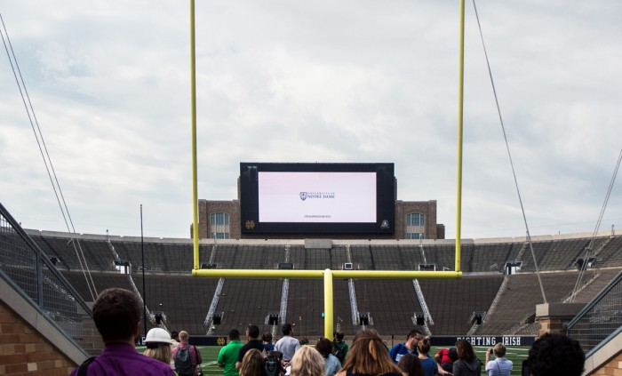A 54 feet high by 96 feet wide video board is now located at the south end of Notre Dame Stadium. The video board will be used to show replays, highlight recognition ceremonies and tell Notre Dame stories.